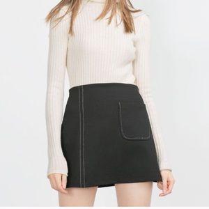 Zara Topstitched Mini Skirt